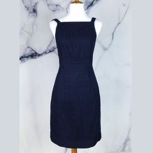 J.Crew Dress 2 Navy Blue Eyelet Halter Sundress